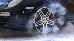 Steam coming from car wheel