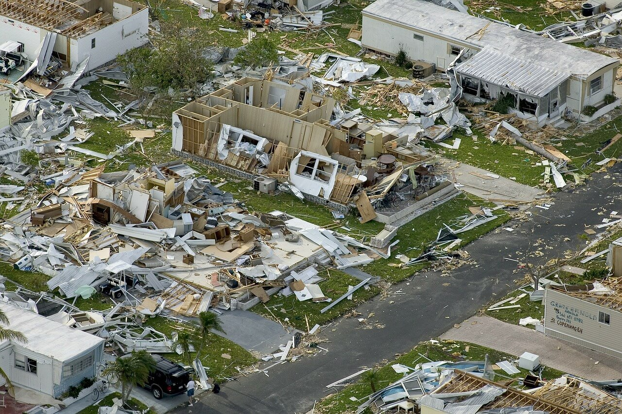 Hurricane damage to Florida neighborhood